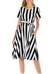 Striped Short Sleeve Pocket Dress -