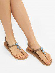 Faux Crystal Toe Post Flat Sandals -