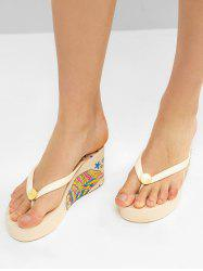 Ethnic Owl Wedge High Heel Thong Slides -