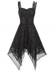 Lace Buckle Grommet Asymmetrical Handkerchief Dress -