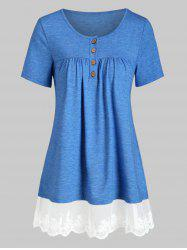 Mesh Panel Flower Embroidered Button Front Tunic Tee -