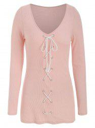 Lace Up Plunging Neck Solid T Shirt -