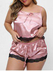 Scalloped Lace Panel Satin Plus Size Pajama Set -