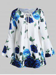 Plus Size Flare Sleeve Front Tie Floral T-shirt -