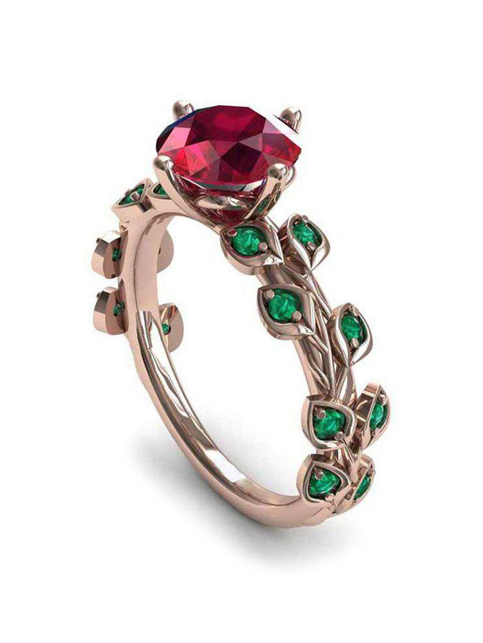 Store Floral Leaf Faux Zircon Ring