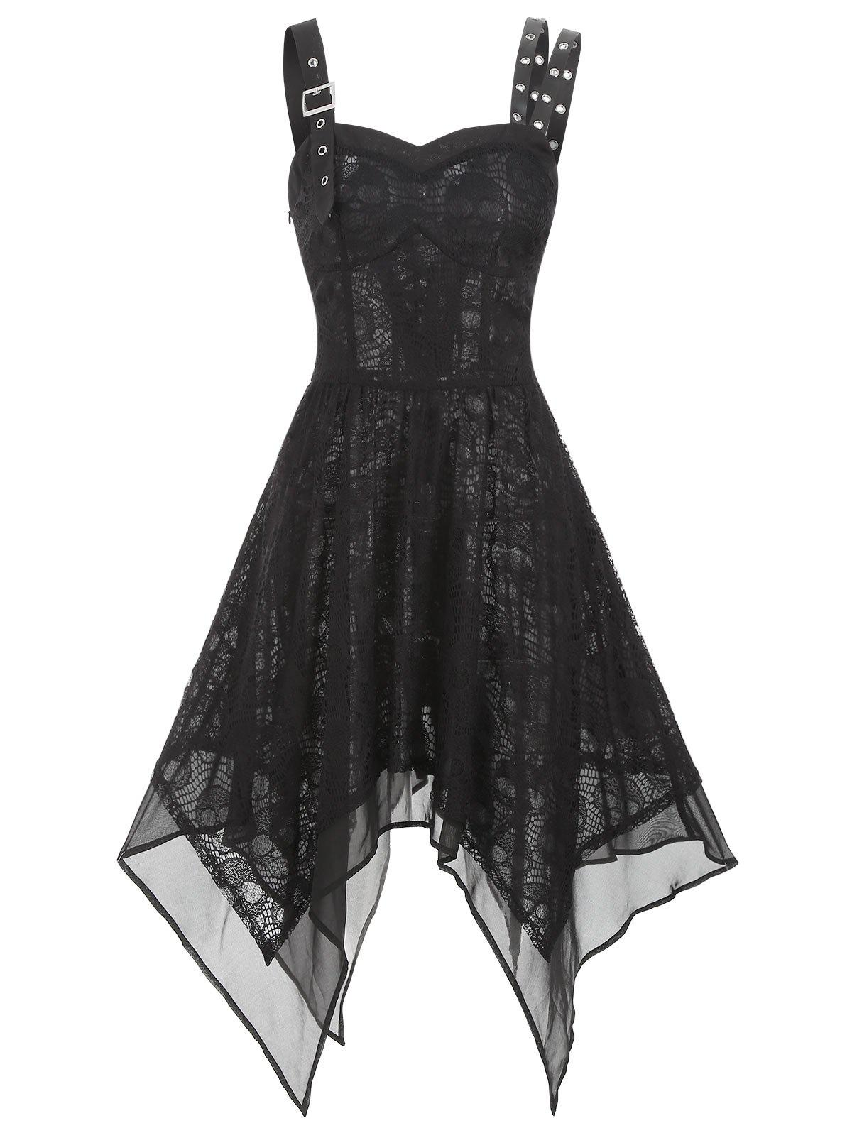 Trendy Lace Buckle Grommet Asymmetrical Handkerchief Dress
