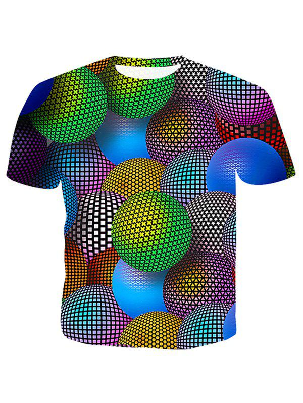 Buy Colorful Star Dots Geometic Ball Print Casual T-shirt