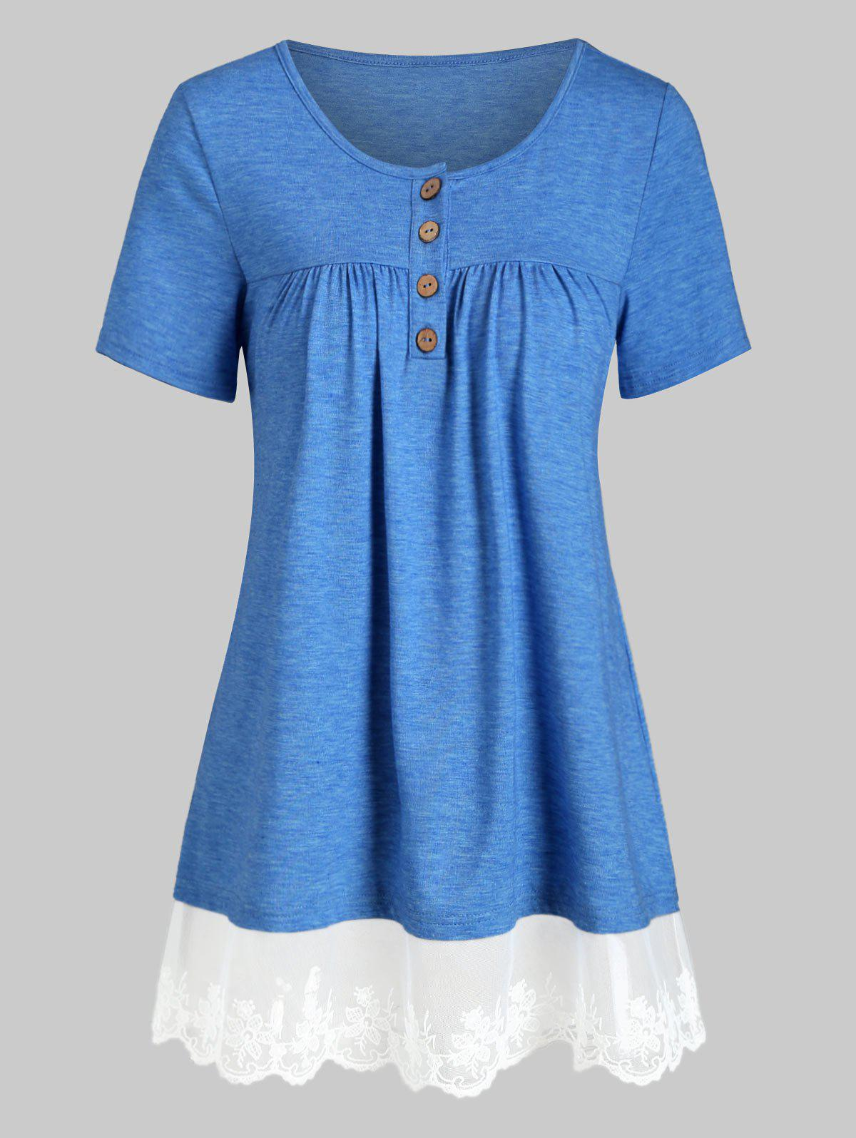 Buy Mesh Panel Flower Embroidered Button Front Tunic Tee