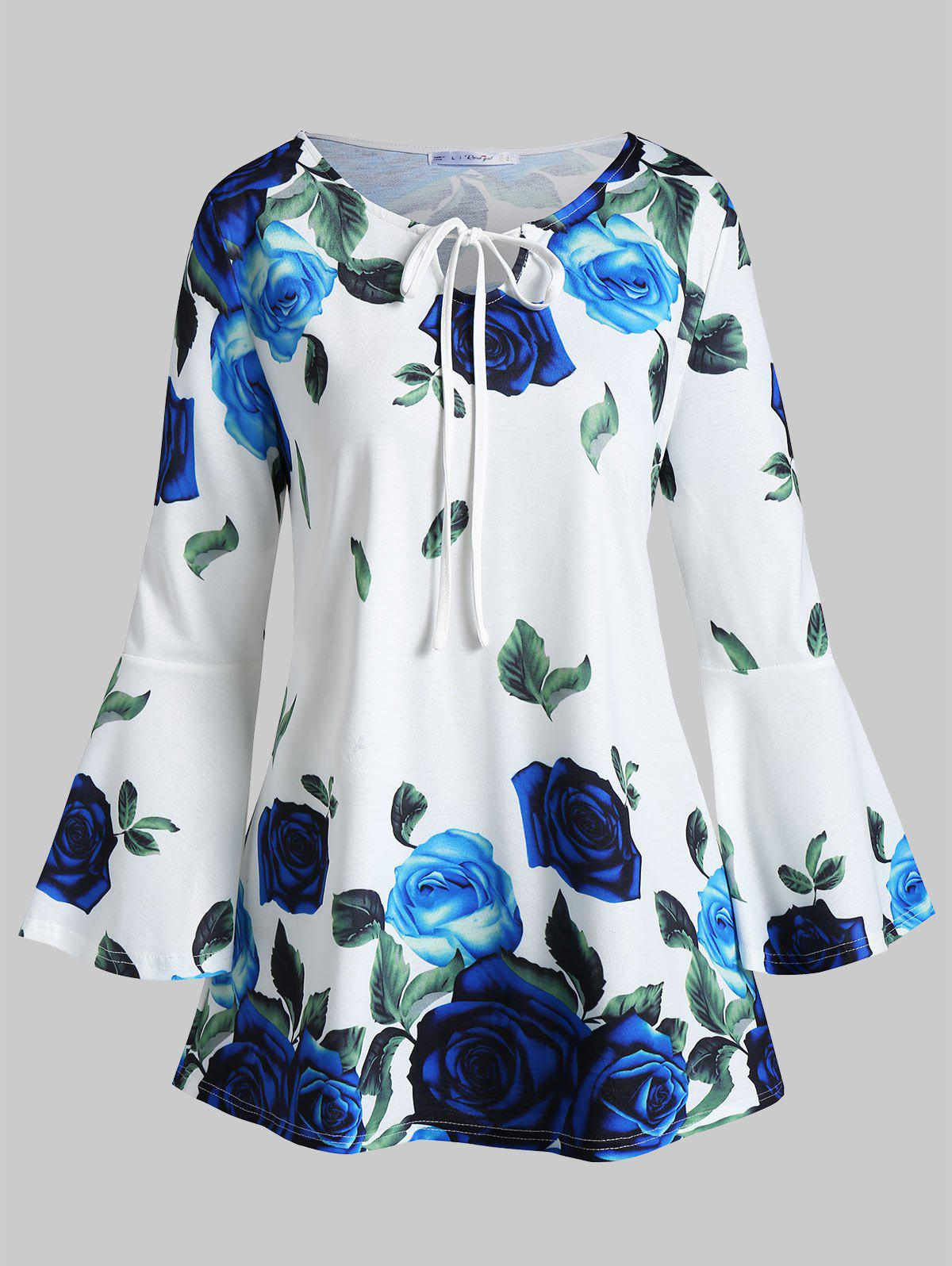 Affordable Plus Size Flare Sleeve Front Tie Floral T-shirt