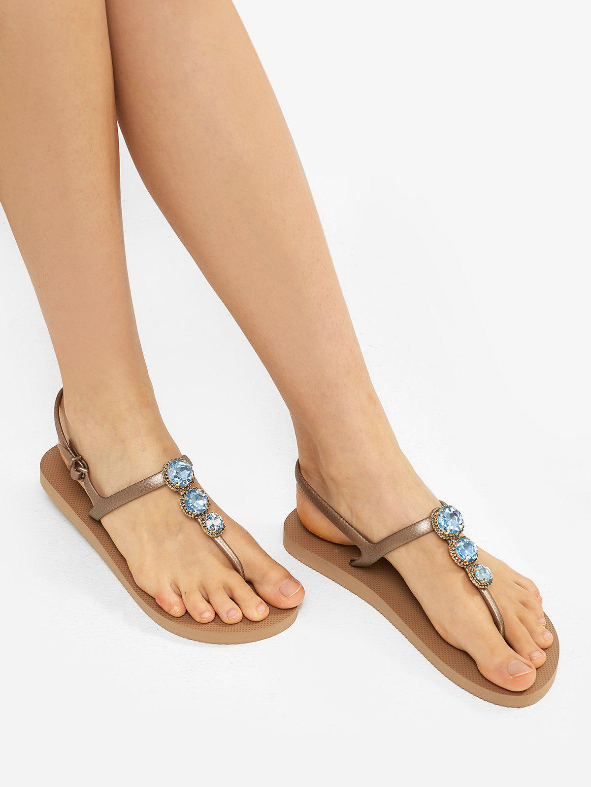 Sale Faux Crystal Toe Post Flat Sandals