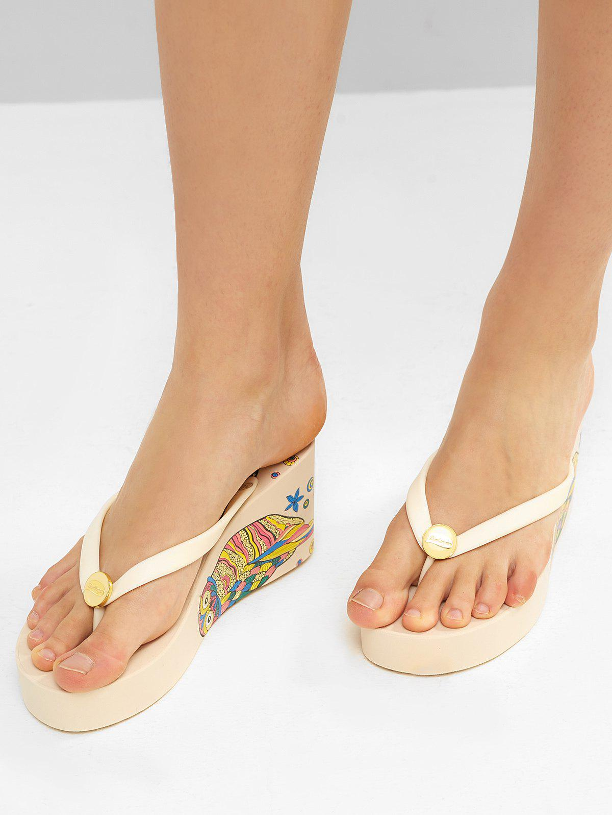 Trendy Ethnic Owl Wedge High Heel Thong Slides
