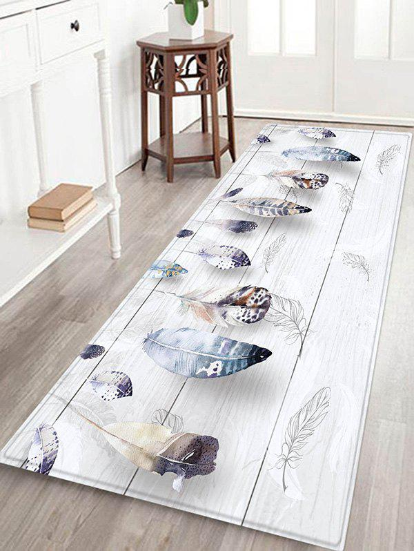 Shop Wooden Board Feather Pattern Flannel Water Absorption Area Rug