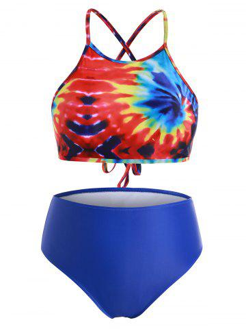 Crisscross Lace Up Rainbow Tie Dye Plus Size Bikini Swimsuit