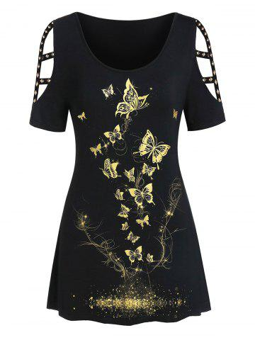 Plus Size Metallic Butterfly Print Cut Out Rivet Tee