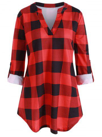 Plus Size Plaid V Neck Roll Up Sleeve Blouse