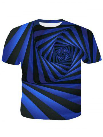 3D Geometric Striped Abstract Swirl Print Casual T-shirt
