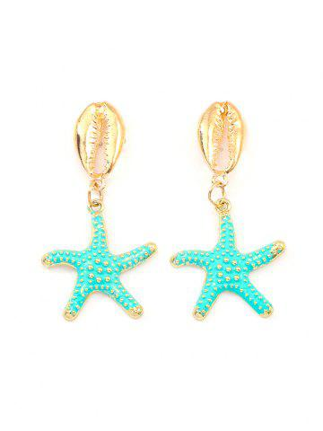 Starfish Shell Beach Drop Earrings