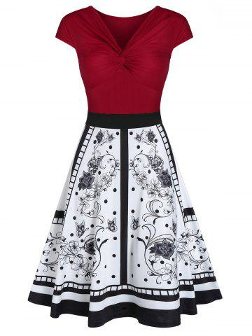 Front Twist Printed Fit and Flare Dress