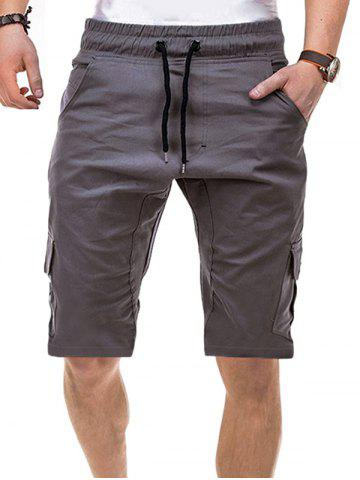 Solid Color Multi-pocket Drawstring Shorts