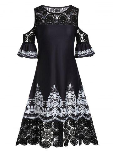 Plus Size Lace Crochet Tribal Print Cold Shoulder Midi Dress