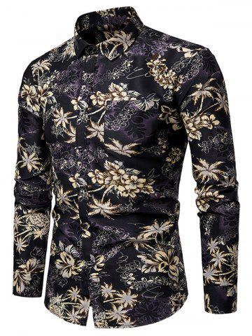 Flower Print Pocket Decoration Casual Shirt