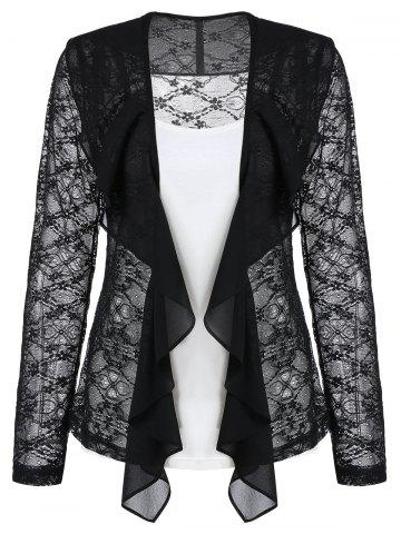 Lace Sheer Draped Cardigan and Cami Top Set
