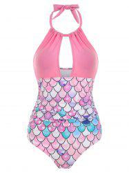 Cut Out Mermaid Ruched Padded Swimsuit -
