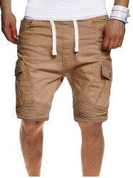Solid Color Pleated Side Flap Pocket Shorts -