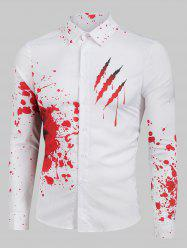 Bloody Claw Print Long Sleeve Button Up Shirt -