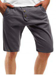 Solid Color Multi Pockets Metal Button Embroidery Shorts -