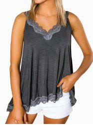 Lace Panel Cutout Casual Tank Top -