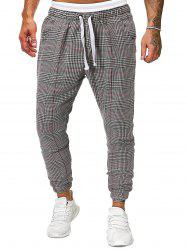 Houndstooth Plaid Print Side Pocket Casual Jogger Pants -