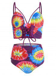 Lace Up Tie Dye Padded Tankini Swimsuit -