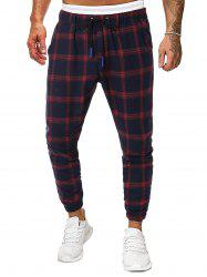 Long Plaid Print Drawstring Jogger Pants -