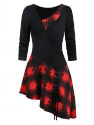 Asymmetry Plaid Ruched Lace Up T-shirt -