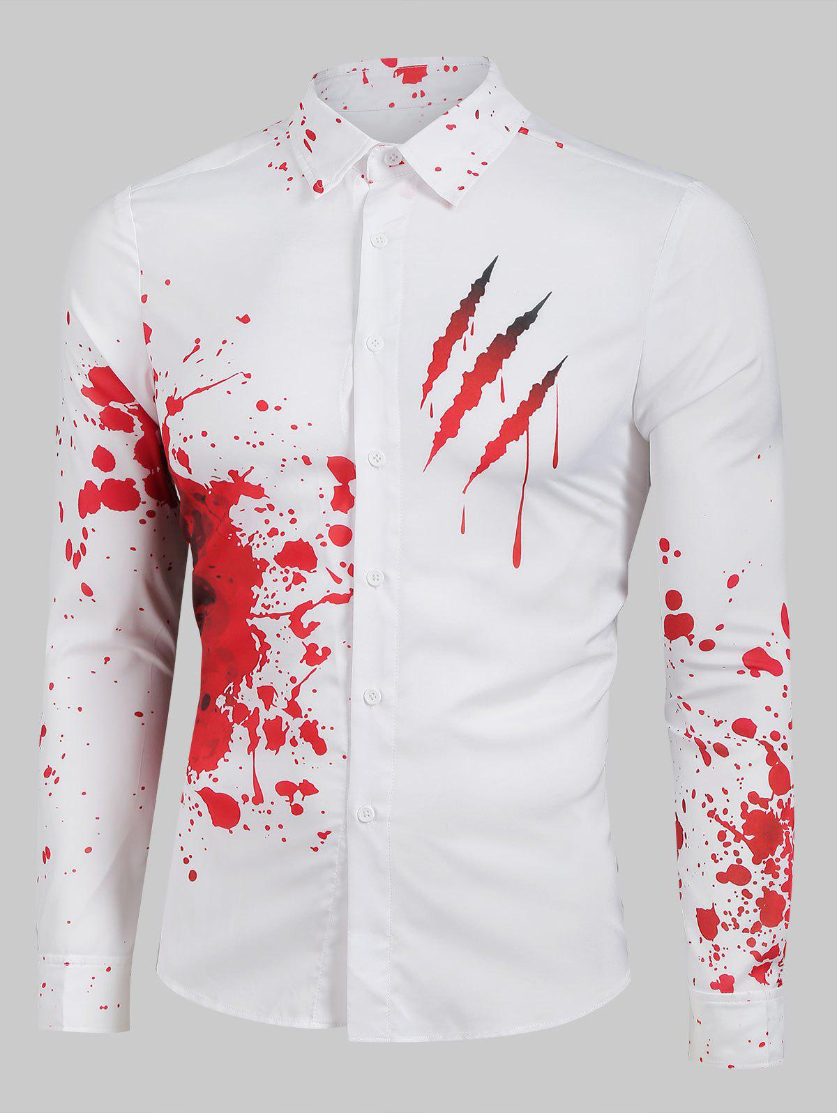 Outfits Bloody Claw Print Long Sleeve Button Up Shirt