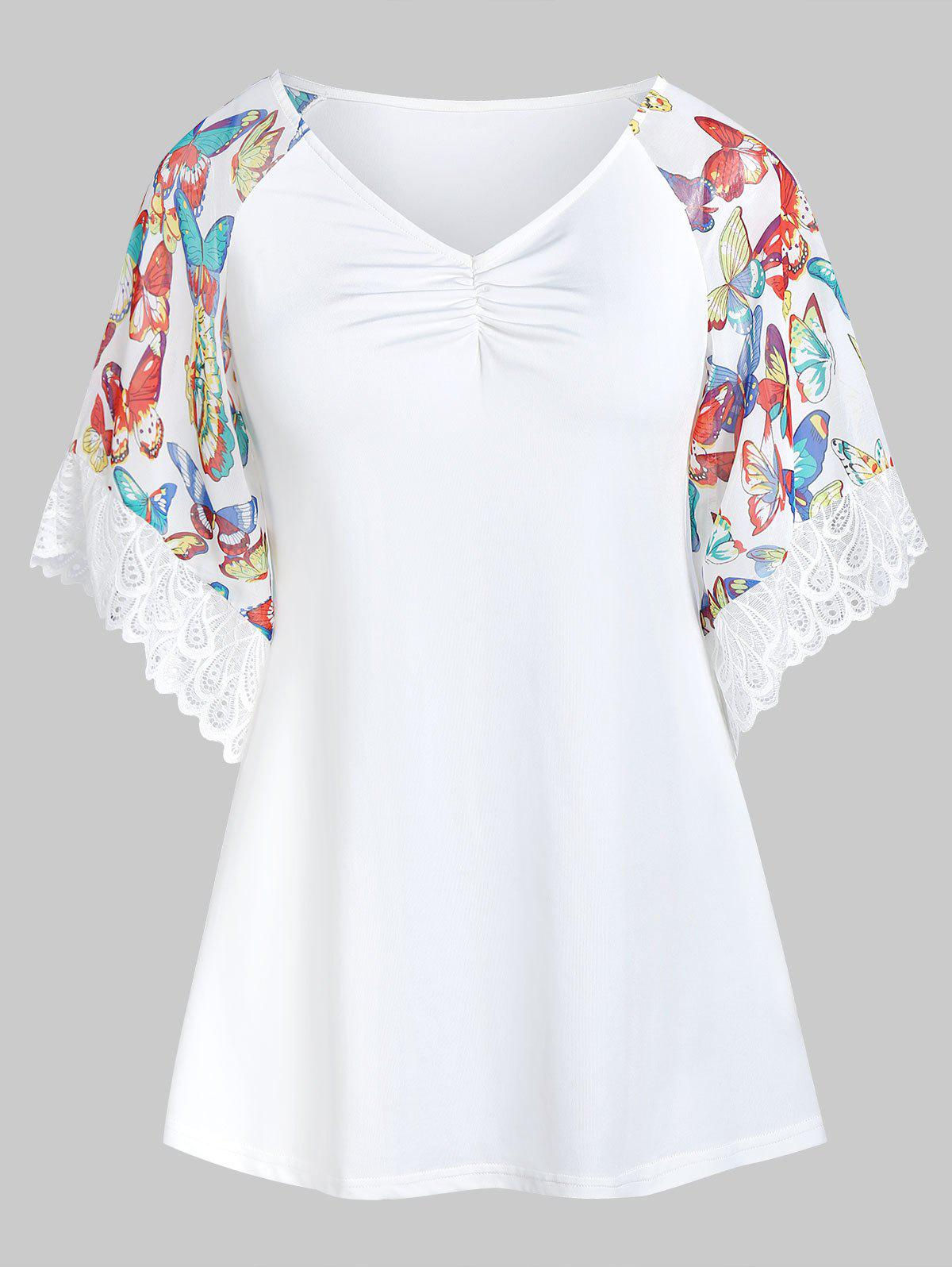 Shops Butterfly Print Lace Panel V Neck T Shirt