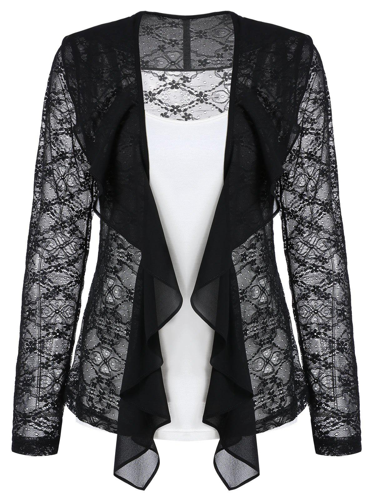 Fashion Lace Sheer Draped Cardigan and Cami Top Set