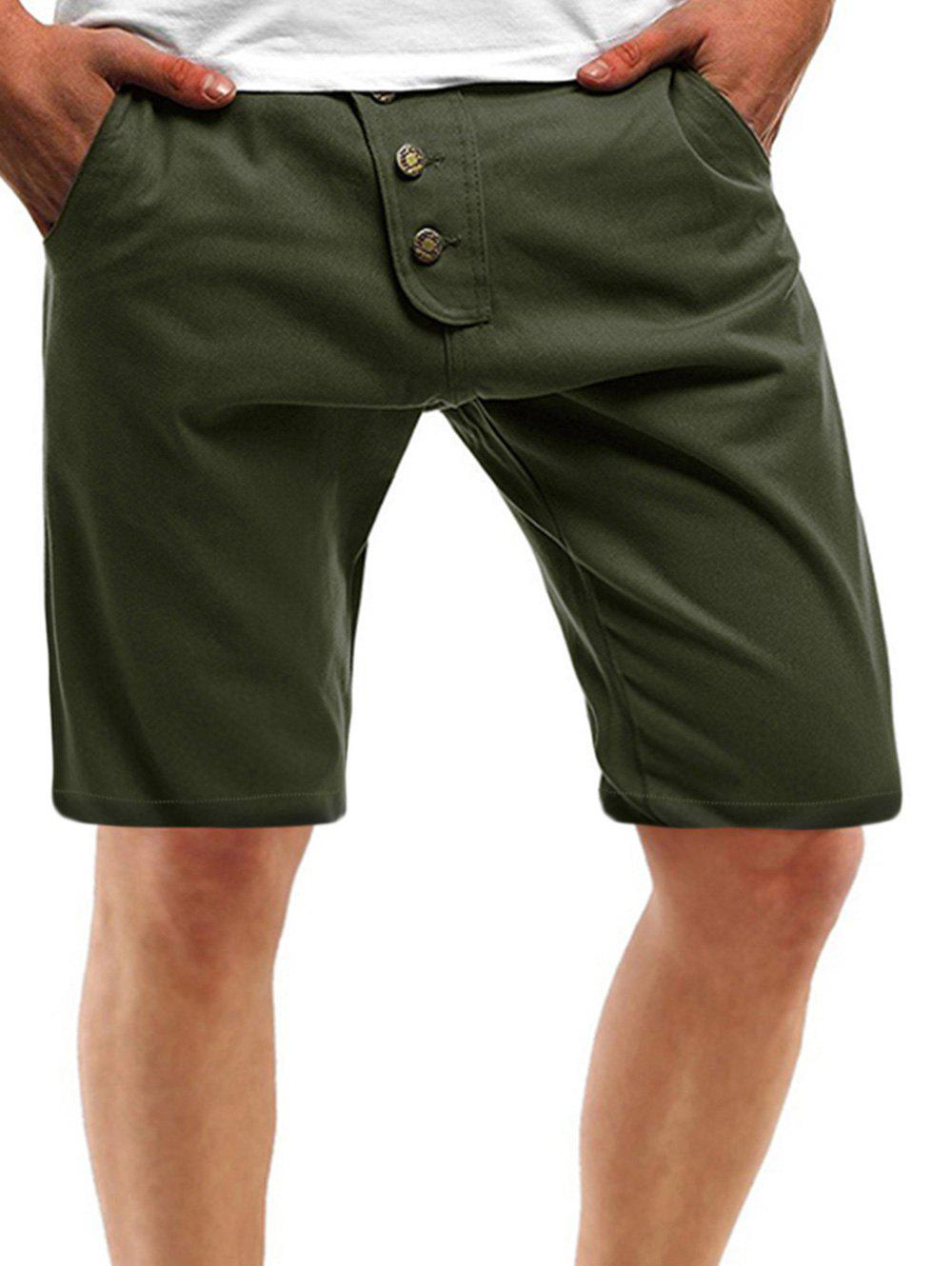 Buy Solid Color Multi Pockets Metal Button Embroidery Shorts