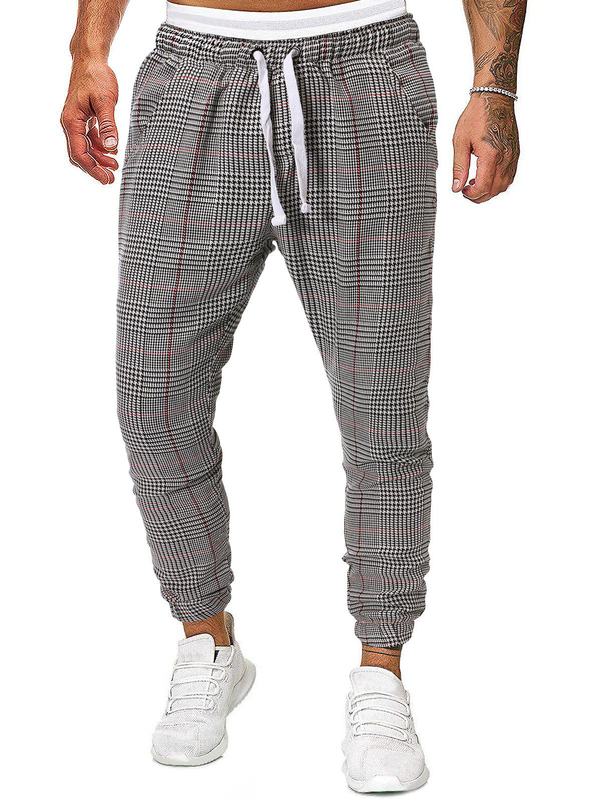 Best Houndstooth Plaid Print Side Pocket Casual Jogger Pants