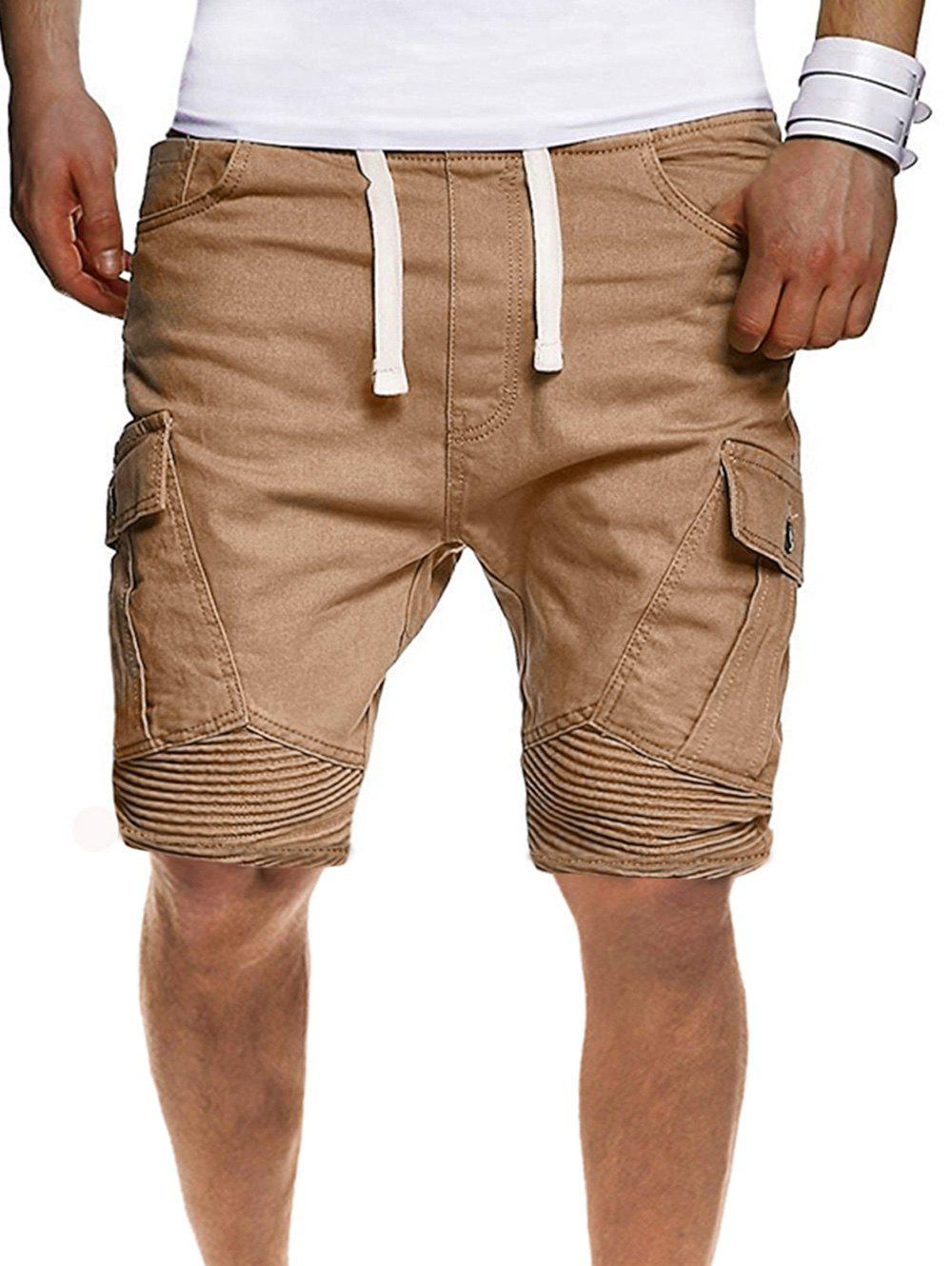 Outfit Solid Color Pleated Side Flap Pocket Shorts