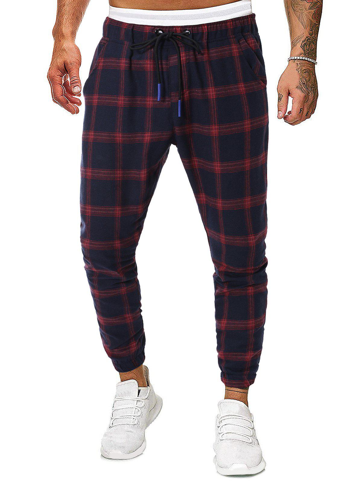 Trendy Long Plaid Print Drawstring Jogger Pants