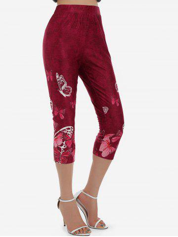 Butterfly Print High Waisted Capri Jeggings - RED WINE - 3XL
