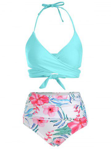 Floral Print Ruched Wrap Bikini Swimsuit - DAY SKY BLUE - L