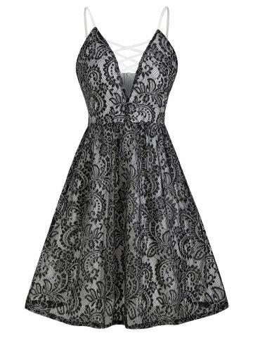 Plunging Neck Criss Cross Lace Flare Dress