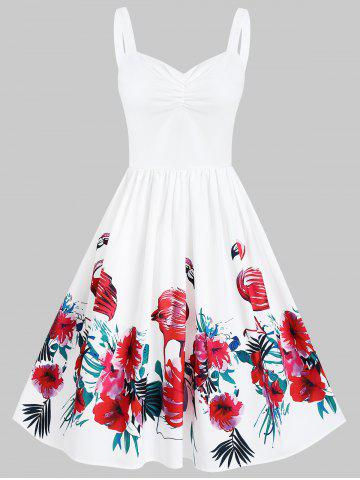 Floral Print Ruched Pin Up Dress