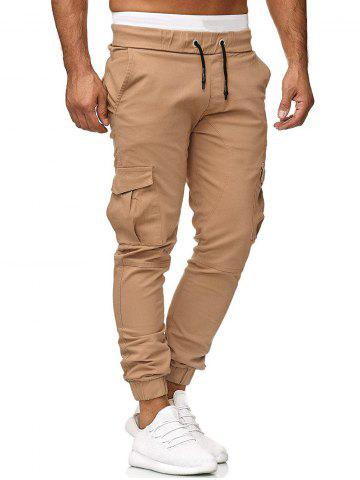 Solid Color Applique Side Flap Pocket Casual Jogger Pants