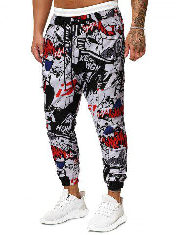 Figure Letter Comic Graphic Patter Casual Jogger Pants, Multi