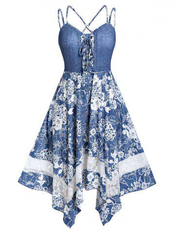 Plus Size Handkerchief Lace Up Strappy Floral Midi Dress