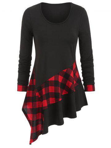 Long Sleeve Asymmetric Plaid T-shirt